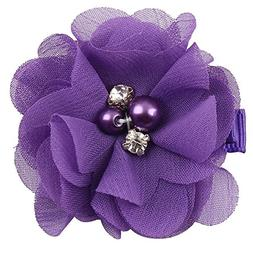 10 Pack Handmade Pearl Drill Flower Hair Clip,Violet