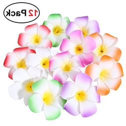 e1c296d1d Frcolor 12 Pieces 3.5 Inch Hawaiian Plumeria Flower Hair Cli