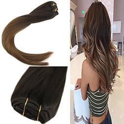 "Sunny 24"" 9pcs Full Head Clip in Ombre Human Hair Extensions"