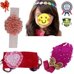 Baby Girl Headband Hairband Hairbow Bibs Hair Flower Clip He