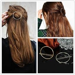 AKOAK Hollow Hoop Round Circle Geometric Metal Hair Clip Bob