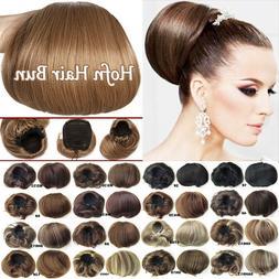 Horn Hair Bun Real Natural Clip In Hair Piece Extensions As