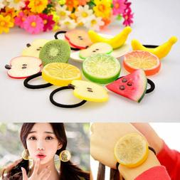 Hot Cute Fruit Orange Apple Elastic Rope Hair Tie Clip Ponyt