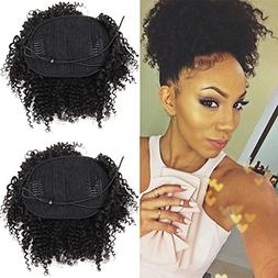 8inch Human Hair Afro Puff Ponytail Extensions for Black Wom