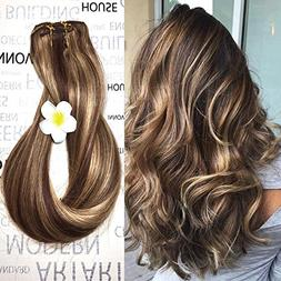 Clip in Human Hair Extensions Medium Brown with Honey Blonde