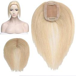 Human Hair Toupee Clip In Topper Straight Hairpiece Handmade