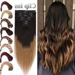 Human Remy Hair Clip Ins On Full Head 100% Real Hair Extensi