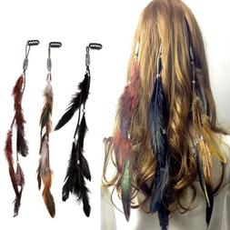 Indian Festival Feather Hippie Headpiece Tassel Hair Comb Cl