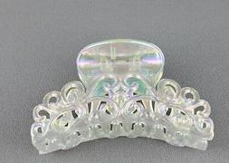 "iridescent hair clip plastic 3 5/8"" long big barrette claw c"