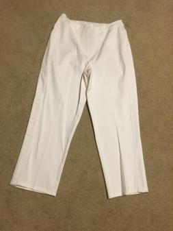 Isaac Mizrahi Live! Pants 6 Stretch Crop Pants w/ Eyelet Det
