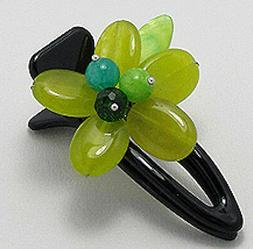 "Jade Flower Hair Clip 2.5"" Genuine Comfortable & Secure NEW"