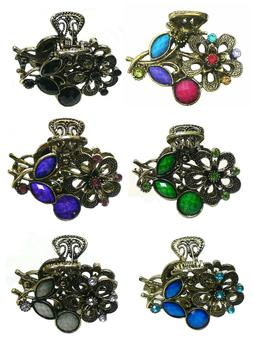 Bella Small Metal Jaw Clip Claw Clip Colorful Beads and Spar