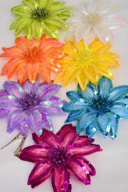 "Jumbo Silk Flower Hair Clip - alligator clip/pin - 6"" diamet"