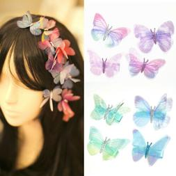 Kids Girls Cute Princess Butterfly Duckbill Clip Chiffon Dou