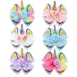 KimKen Unicorn Hair Bow Hair Clip Glitter Horn Rainbow Bow G