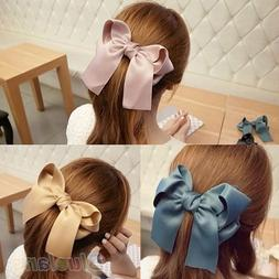 Korean Women Multicolor Satin Ribbon Bow <font><b>Hair</b></