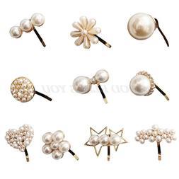 Korean Women Sweet Metallic Hairpin Luxury Imitation Pearl F