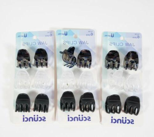 1 hair small jaw clips black white
