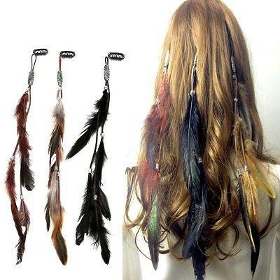 1 indian festival feather hippie headpiece tassel