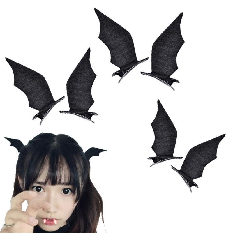 1 Pair Halloween Cute Little Bat Horn Hair Pin Clip Clamp  C