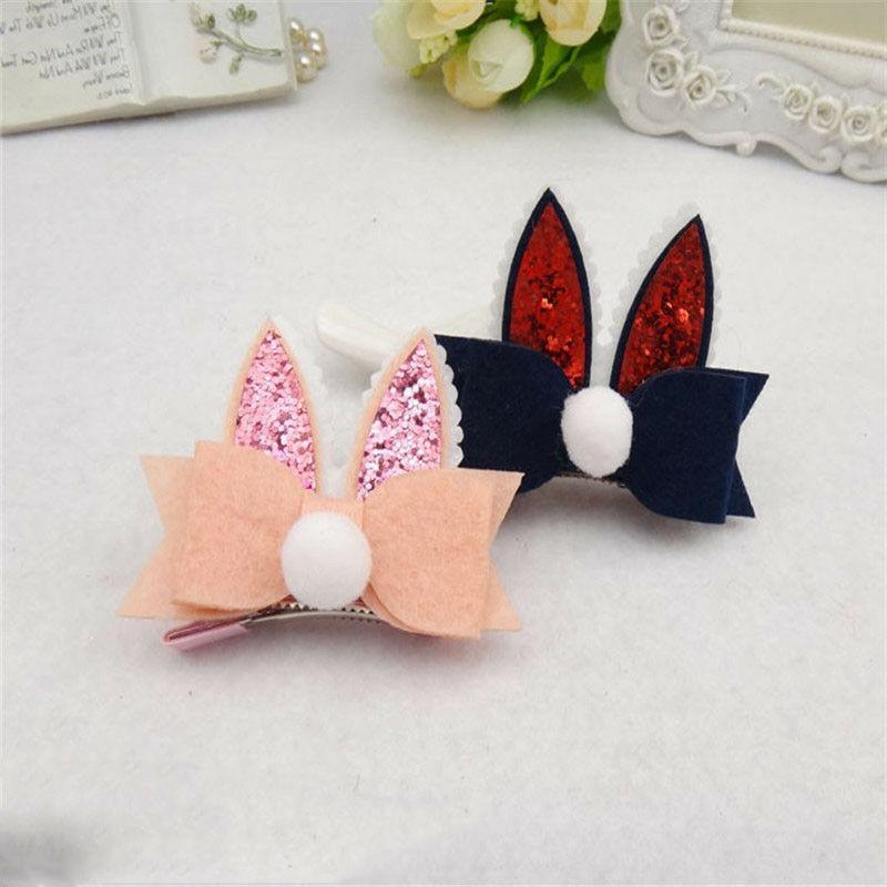 1*Rabbit Ears Bow-knot Rosette Hair Pins Headwears Clips Hai