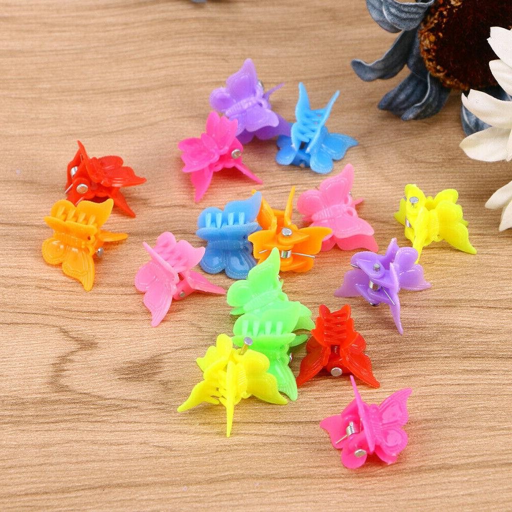 100Pcs Butterfly Hair Claw Clip Girls