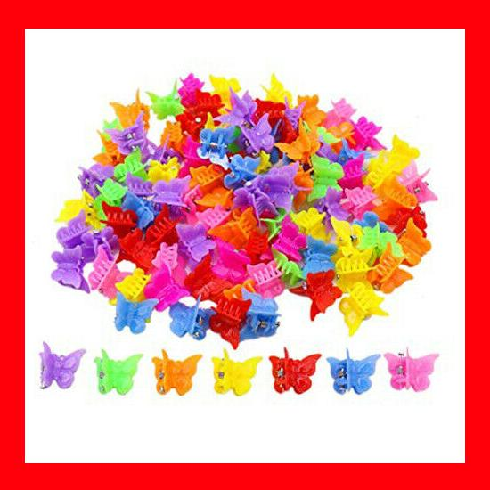100 packs assorted color butterfly hair clips