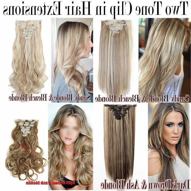 100% Natural in Hair Extensions Pieces Full Head As