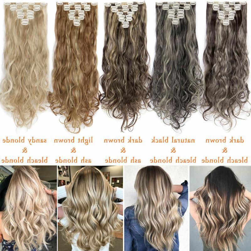 "8Pcs Clip Hair Extensions Thick 17-26"" D"