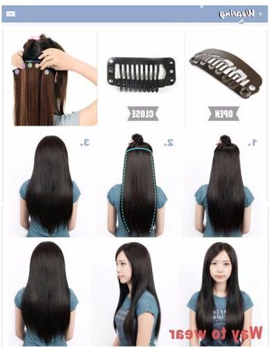 US 1Pcs 100% Hair Clip in Half Full Head Extensions as Human