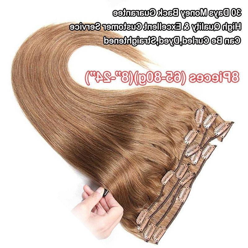 Human Remy Clip Ins 100% Real Hair Extensions Ombre 8PCS