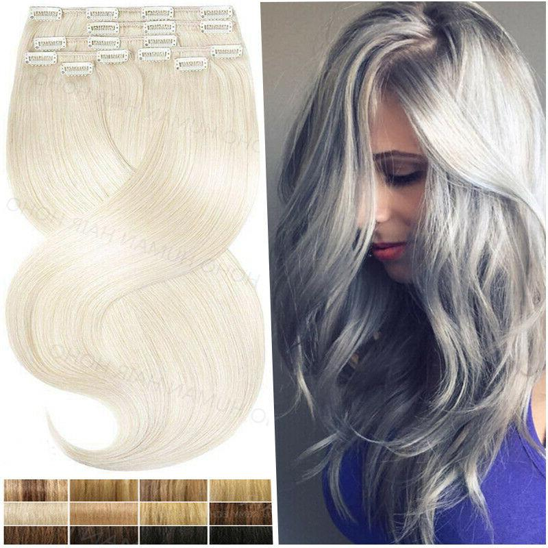 100% Remy Human Hair Weft Clip In Long Extensions 8 Pieces S