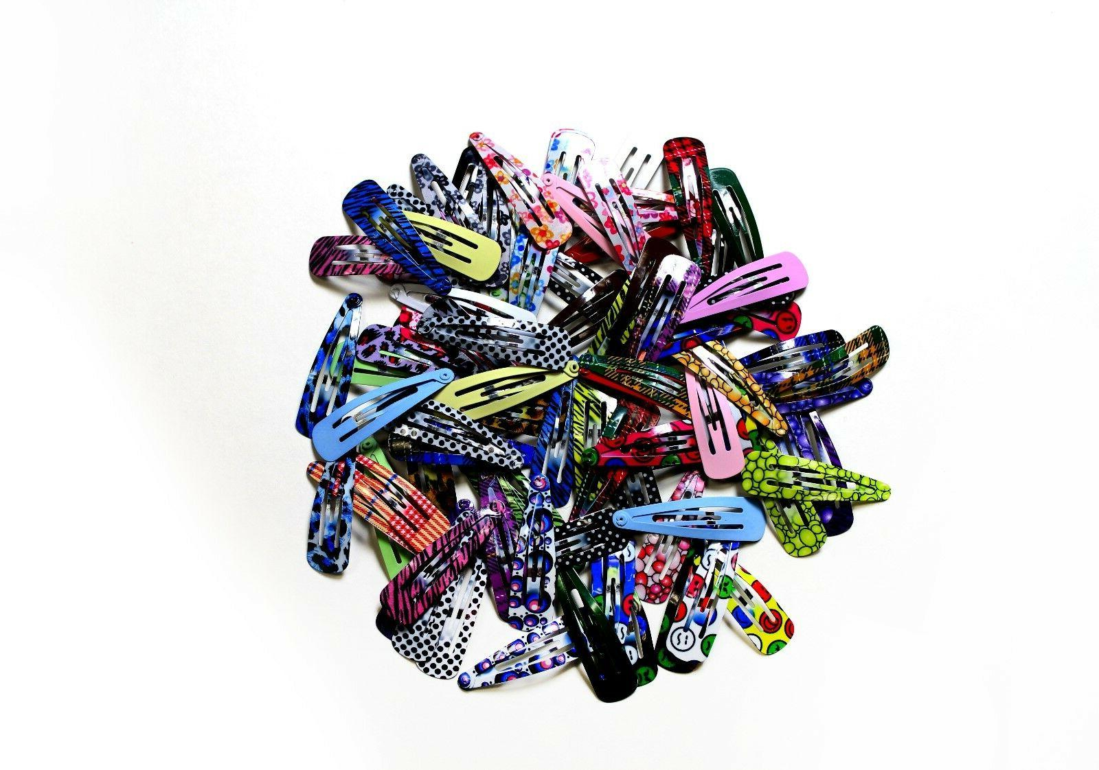 """100pc 2"""" Colorful Hair Clips Slip Metal Barrettes"""