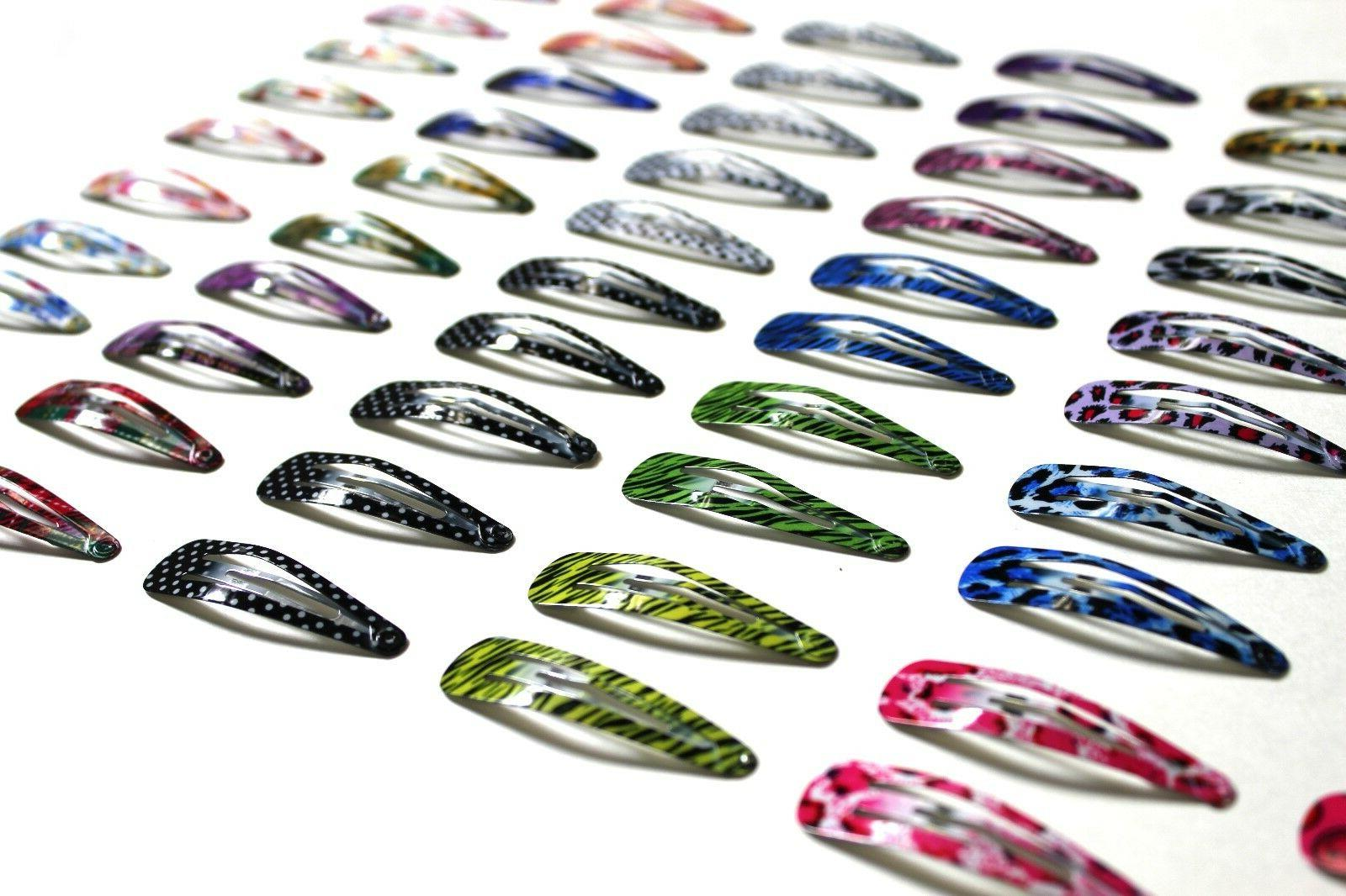 100pc 2 colorful snap hair clips no