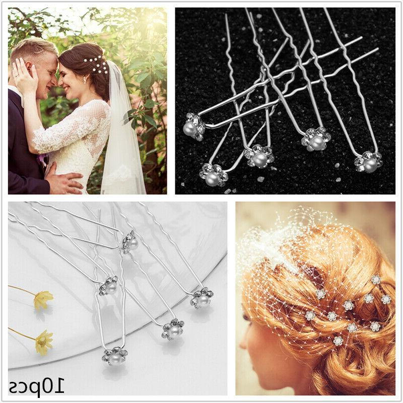 PIXNOR 10PCS Bridal Hairpins U-Shaped Pin Hair Stick Hair Ac