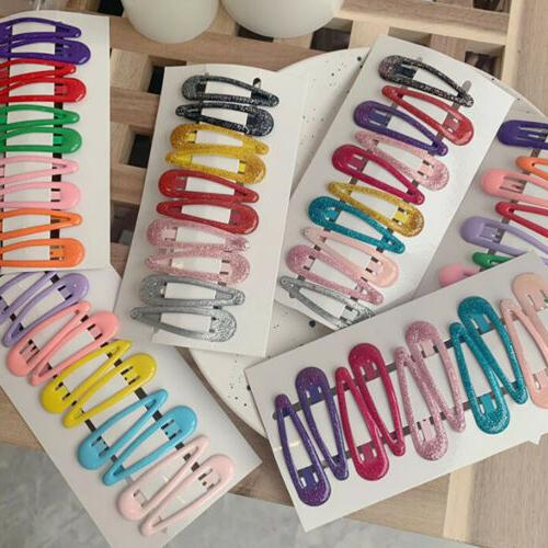 10Pcs/Pack Color Hairpins Snap Hair Clip Kids Girl Barrettes Clips-