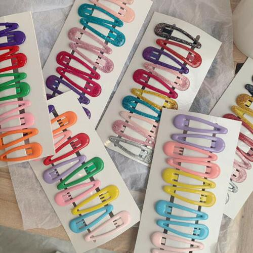 10pcs pack candy color hairpins snap hair