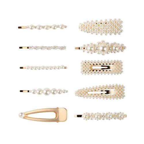 10pcs pearl hair clips snap hairpin slide