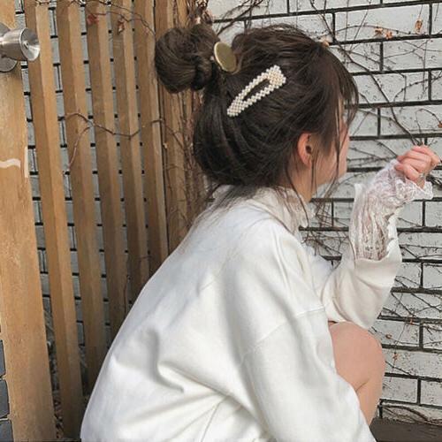10Pcs Pearl Hair Clips Snap Barrette Headwear