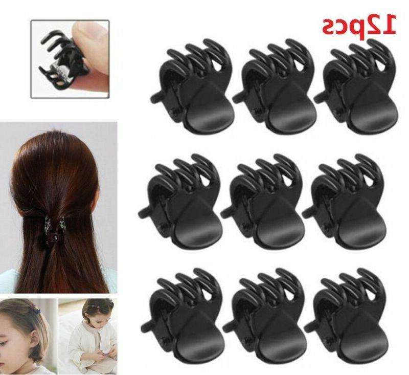 12pcs fashion girls black plastic mini hairpin