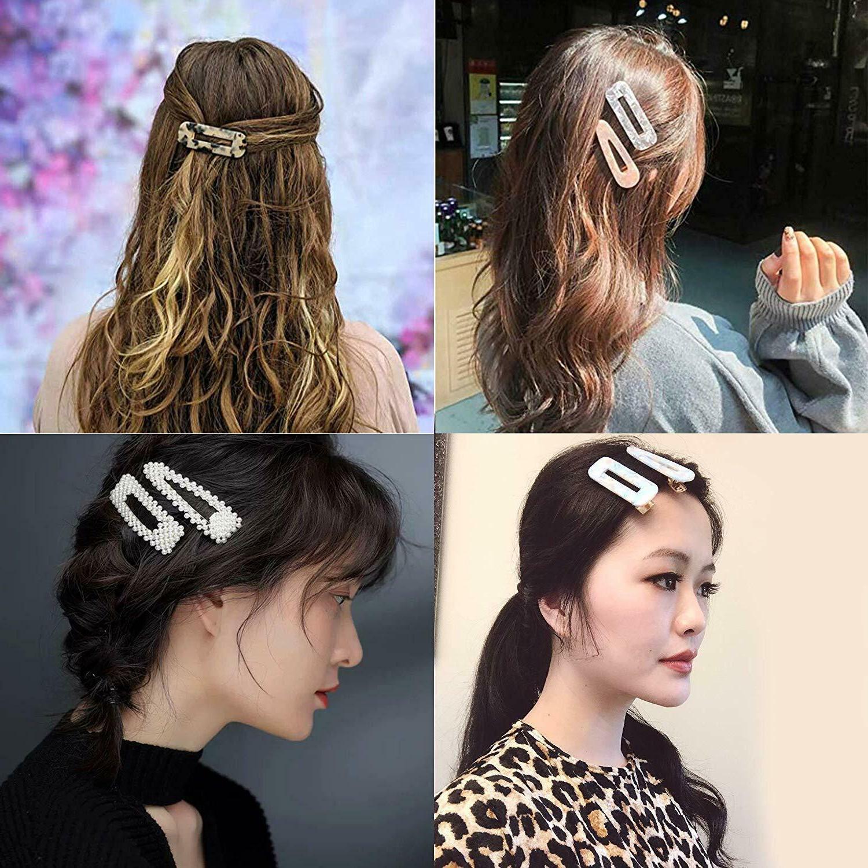 12 Pcs Pearl Hair Woman Geometric Resin