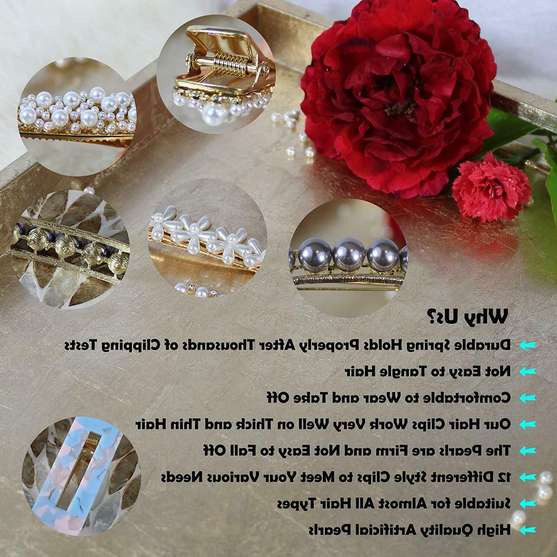12 Pcs Hair Pearl Woman Fashion Geometric Acrylic Resin
