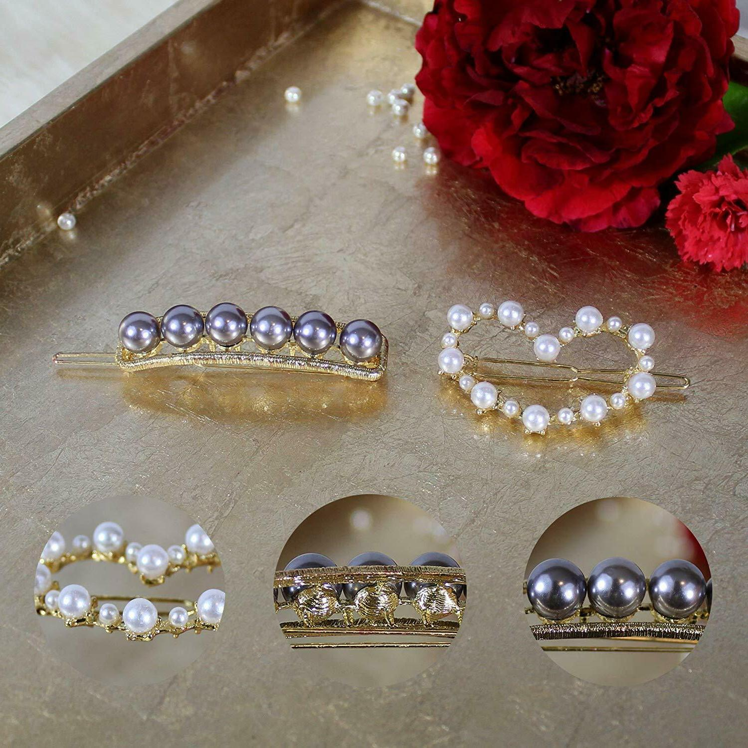 12 Clips Pearl Hair Barrettes for Woman Geometric Acrylic Resin