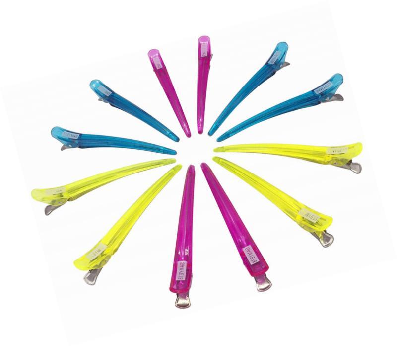 Minalo 12pcs Transparent Plastic& Metal Clips Hairdressing