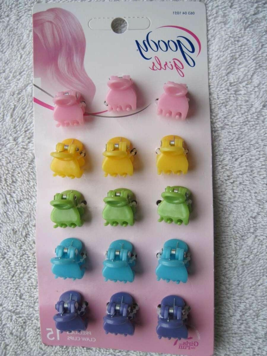 15 Goody Girls Precious Claw Hair Clips Small Jaw Pink Yello
