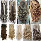 18 Clips In On Hair Extensions Straight Wavy Full Head Human