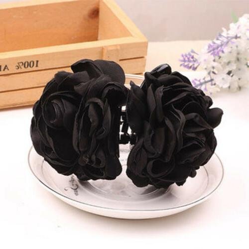 1PC Cloth Rose Flower Hair Claw Clip Jaw Accessories