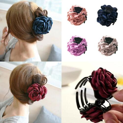 1pc cloth rose flower hair claw clip