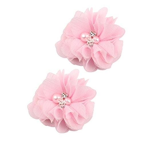 """inSowni 2"""" Alligator Clips Chiffon Flower with Rhinestone Pearl for Girl Toddlers"""