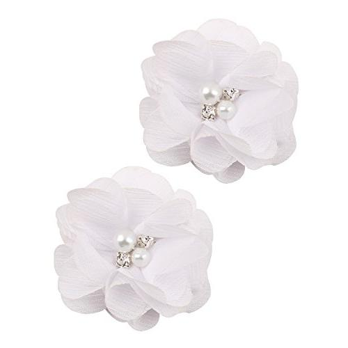 """inSowni 2"""" Clips Flower Rhinestone Pearl for Girl"""